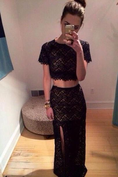 Fashion Black Lace Two Piece Slit Maxi Party Dress With Short Sleeves