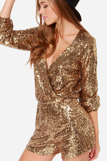 SEXY GOLDEN V SEQUINS DRESS ROMPER