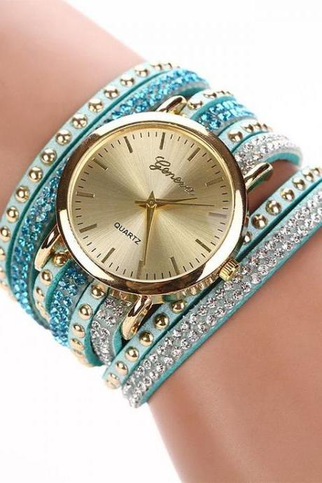 Fashion Bracelet Rhinestones Dress Sky Blue Girl Watch