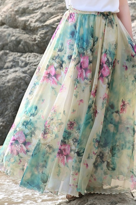 Summer Chiffon Floral Print Lightweight Boho Summer Beach Long Maxi Skirt Bridesmaid Dress
