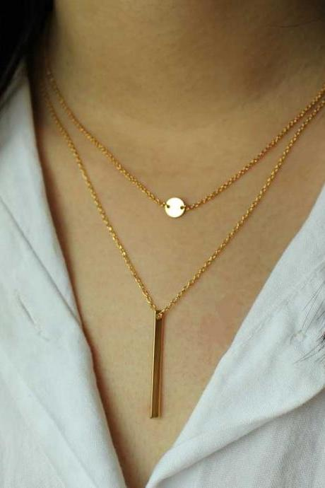 14K Gold Necklace, Fashion Jewelry, Double Layer Necklace, Gifts For Her, Birthday Gifts