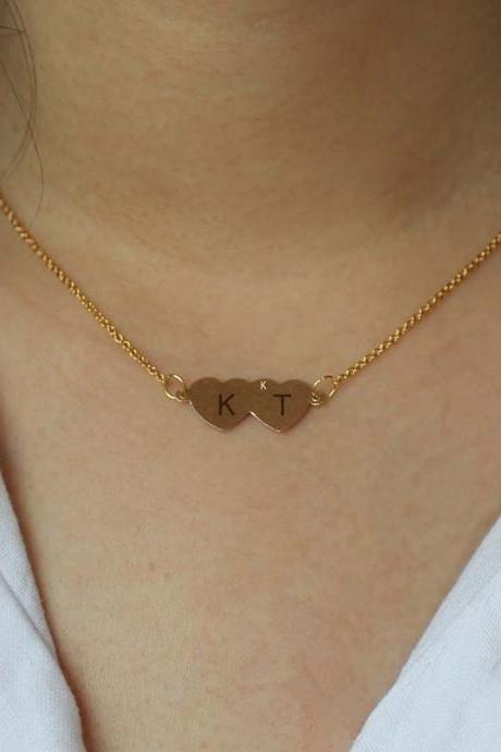 Initial Heart Necklace, 14K Gold Necklace, Sister Necklace, Gifts For Her, Birthday Gifts