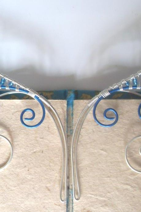 Elf Ear Cuffs! Blue & Silver Handmade Fantasy Ear Cuffs. Faerie, Pixie, Nymph, Sprite, or Mermaid Fancy Dress Jewellery