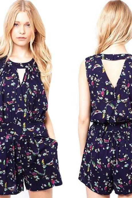 Floral Print Loose Short Jumpsuit