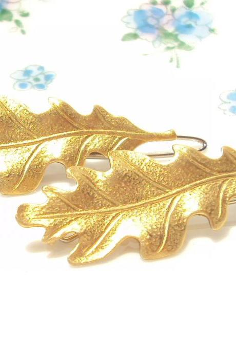 Medium Gold Leaf Hair Barrette Set - Woodland Collection - Whimsical - Nature - Bridal