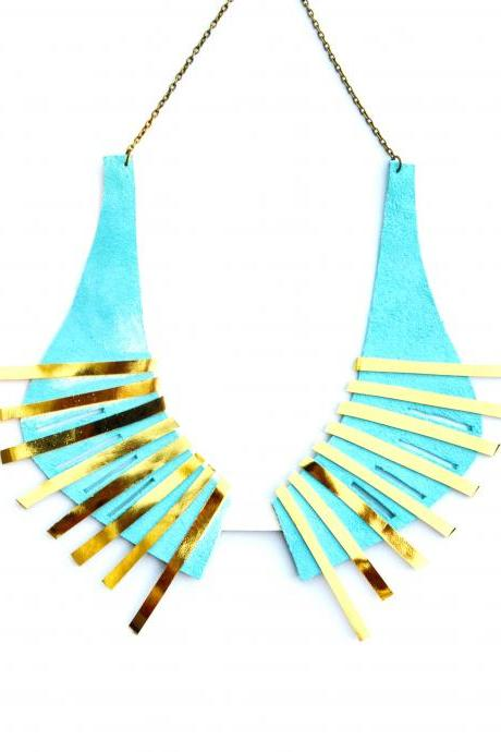 Leather Collar Necklace Geometric Mint Pastel Color Burst