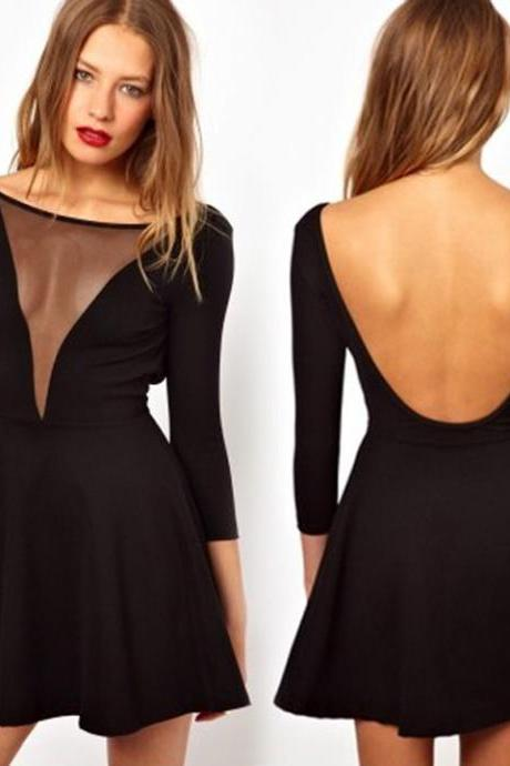 Backless V-Neck Little Black Dress