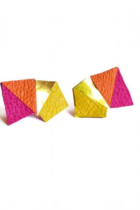 Neon Leather Stud Earrings Geometric Triangle Color Block