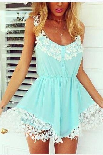 Fashion V-Neck Sleeveless Solid Color Chiffon Dress