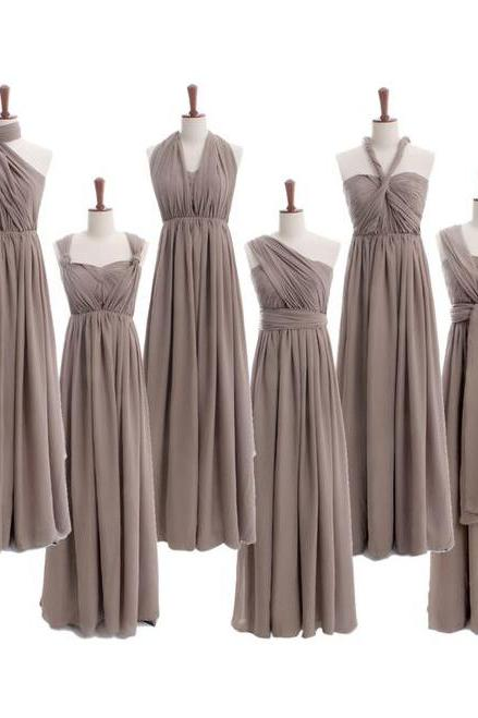 Custom Made Gray Convertible Evening Dress, Mismatched Bridesmaid Dresses, Bridal Collection, Prom Dresses