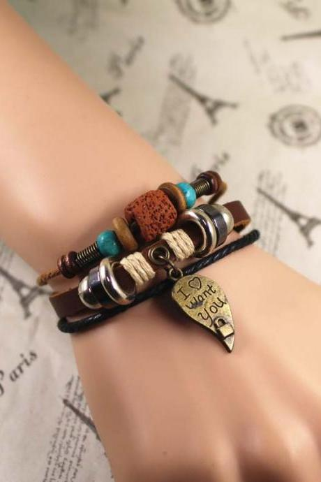 'I Love You'Leather Bracelet, Leaf Bracelet, Bead Bracelet, Best Gift For Her, Gifts For Men, Birthday Gifts