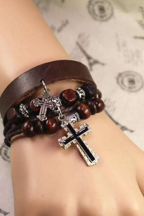 Cross Leather Bracelet, Bead Bracelet, Multilayer Bracelet, Best Gift For Her, Gifts For Men, Birthday Gifts