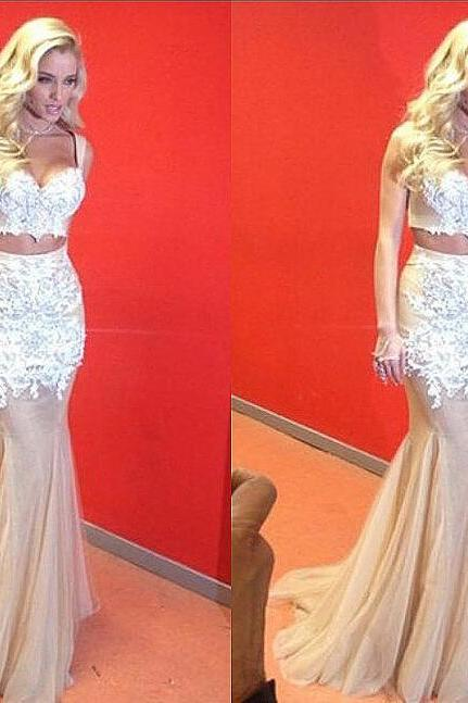 2016 Two Piece Prom Dresses Sweetheart Appliques Sexy Long Evening Dresses Tulle Party Dress Prom Gowns