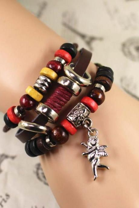 Leather Bracelet, Angel Bracelet, Bead Bracelet, Best Gift For Her, Birthday Gifts