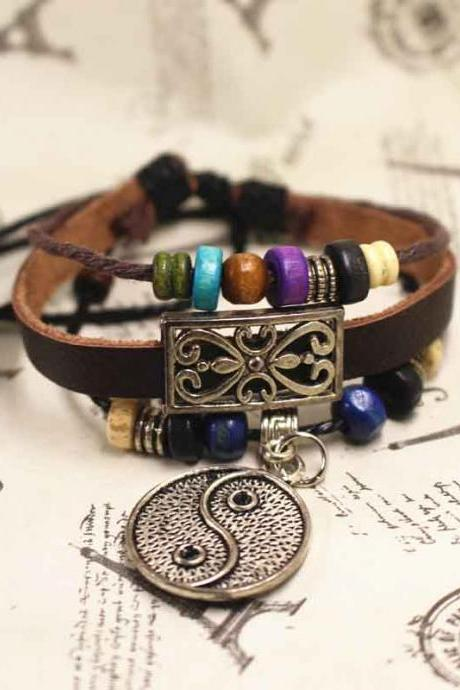 Leather Bracelet, Bead Bracelet, Best Gift For Her, Gift For Him, Birthday Gifts,Free Shipping