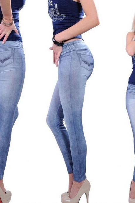 Popular One size Stretchy Jean look Fashion legging for women sexy Leggins Slimming Leggings