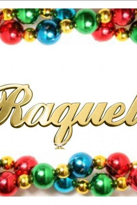 Raquel Style Any Name Necklace nameplate pendant chain 18k Gold Plated 1.0 mm UPGRADED THICKNESS initials monogram! personalized chain