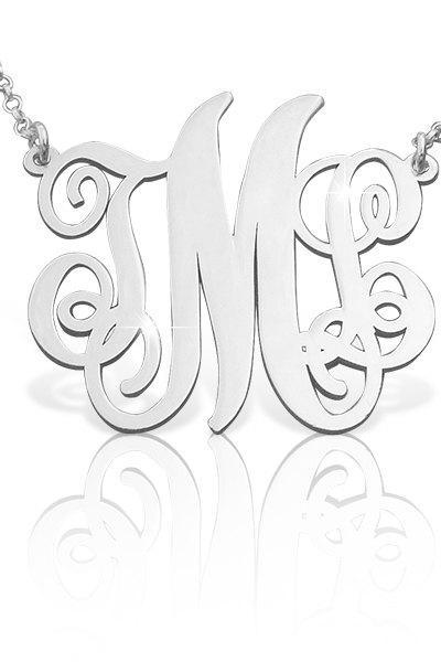 Monogram Necklace! UPGRADED QUALITY Order any 3 letters Name Necklace Free Chain pendant Hand made! Personalized Jewelry Sterling Silver