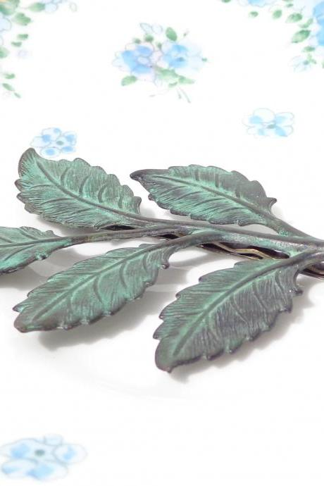 Large Verdigris Leaf Branch Hair Pin - Woodland Collection - Whimsical - Nature - Bridal