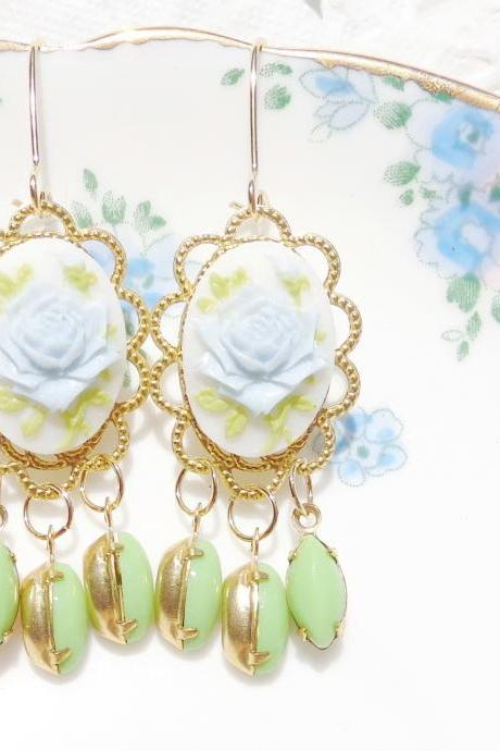 Vintage Rose and Jewel Chandelier Earrings - Whimsy - Whimsical - Romance - Bridal