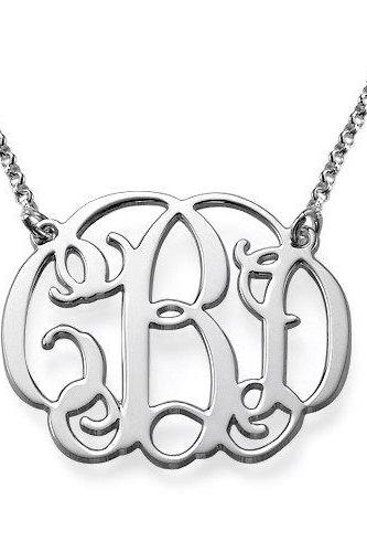 Monogram Necklace! UPGRADED QUALITY and thickness Order any three letters Name Necklace Free Chain Sterling Silver Any 3 initals