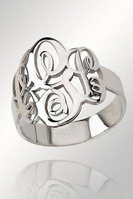 Monogram Ring! Order any three letters, initials and ANY ring size Solid Sterling Silver Hand made!