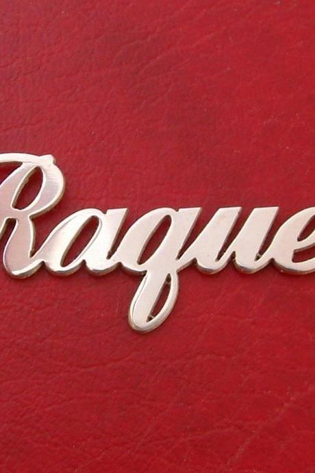 Sterling Silver Nameplate Necklace Order ANY NAME or WORD Raquel writing style monogram pendant initials Free Chain and Shipping upgraded