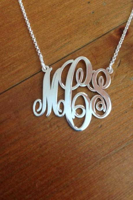Monogram Pendant and chain! Order any three letters Name Necklace pendant Hand made! Personalized Jewelry Sterling Silver Any 3 initals