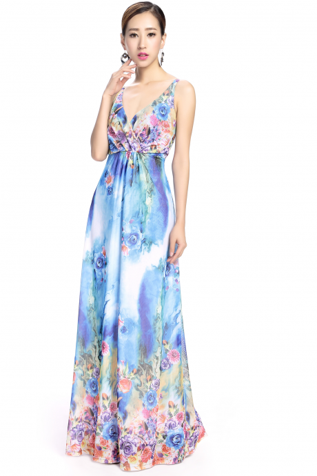 Sexy V-neck Floral Printed Boho Long Party Holiday Beach Maxi Dress