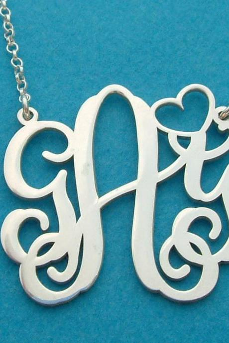 Monogram Necklace! Order any three letters Name Necklace FREE CHAIN pendant HEART style Personalized Jewelry Sterling Silver Any 3 initals