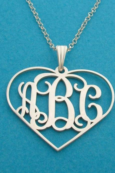 Monogram Necklace Heart Design Order Any 3 initials Name Necklace FREE CHAIN pendant Hand made! Personalized Jewelry Sterling Silver