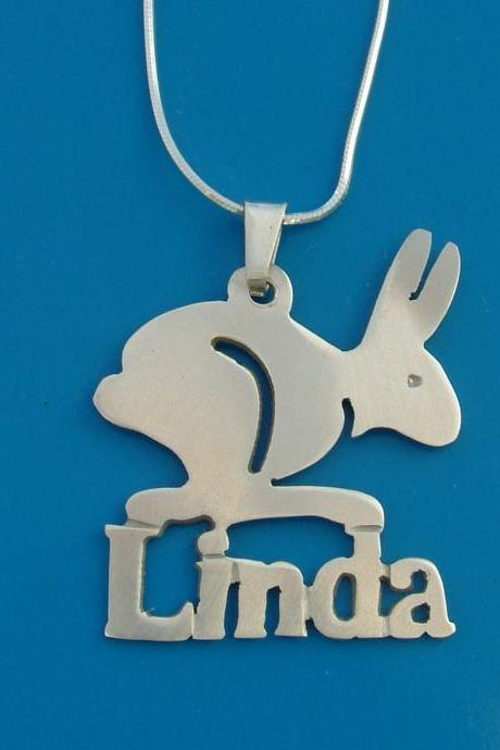 Rabbit Pendant charm Solid Sterling Silver Personalized Name Necklace monogram Christmas Gift FREE CHAIN Free Shipping Hare Bunny charm