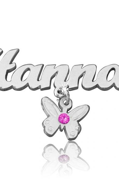 Butterfly Necklace Birthstone Charm ANY NAME NECKLACE! Custom made for you. Order any name or word Any Swarovski crystal birthstone