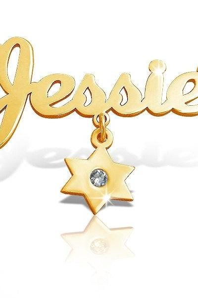 Name Necklace Star of David Jewish Star Birthstone Bat Mizvah gift Order ANY Name Genuine Swarovski crystal pendant 18k GOLD PLATED