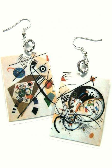 Kandinskij Abstract Laminated Earrings for art lovers