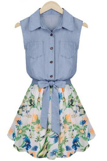 New Pretty Button Fly Design Turndown Collar Denim Dress