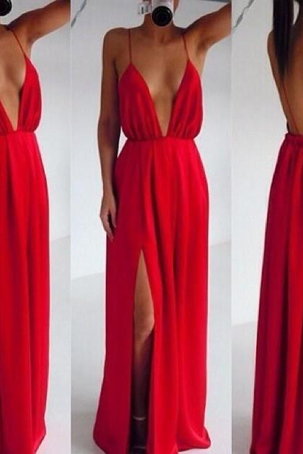 Split Front Maxi Dress In Red