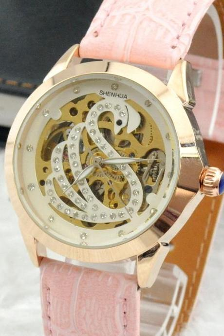 Pink Crystal Decorated Swan Print Round Analog Automatic Wind Watch With Rose Gold Stainless Steel Case Faux Leather Strap