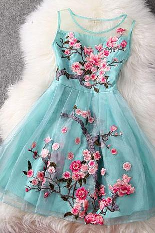 Flower Embroidery Mesh Dress