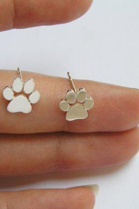 Paw Print Studs - Sterling Silver Earrings - Cats or Dogs Paws - hand cut
