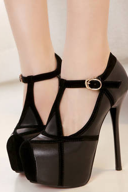 Strappy Black High Heel Fashion Shoes