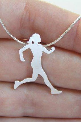 Sterling Silver Runner Neckalace pendant - Running woman silhouette - Sport Jewelry - Hand Cut