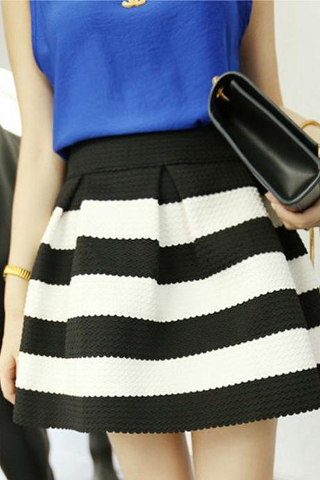 Fashion Women Strip Short Skirt