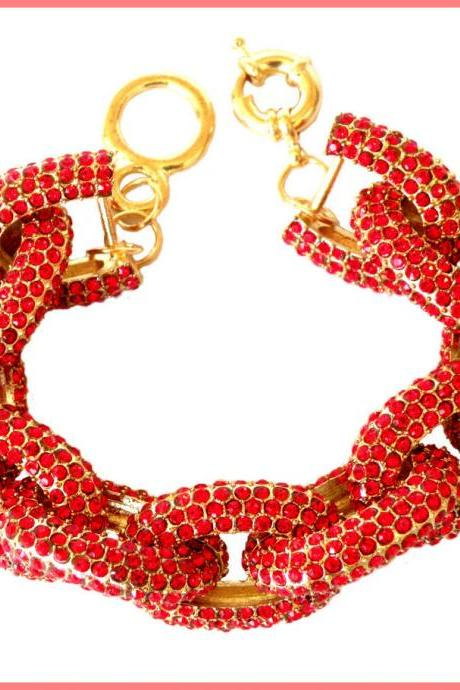 Red Chunky Pave Link Chain Classic Bracelet J Style with 1,500+ Crystals Rhinestones