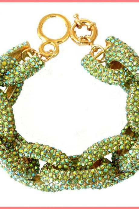 Peridot Chunky Pave Link Chain Classic Bracelet J Style with 1,500+ Crystals Rhinestones