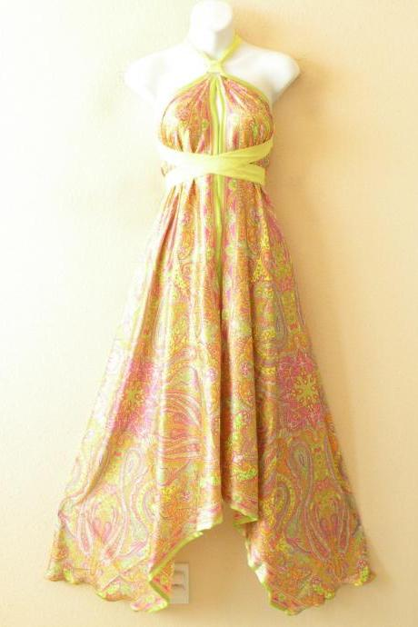 1D96 Yellow Versatile Silk Multi Wear Scarf Long Maxi Halter Dress Maternity