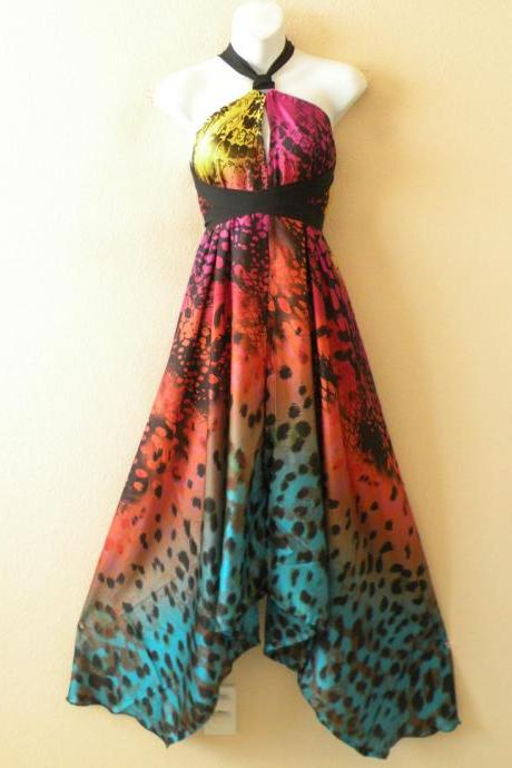 1D97 Multicolor Versatile Silk Multi Wear Scarf Long Maxi Halter Dress Maternity