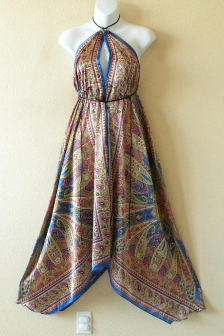2D73 Blue & Gold Versatile Silk Multi Wear Scarf Long Maxi Halter Dress Maternity