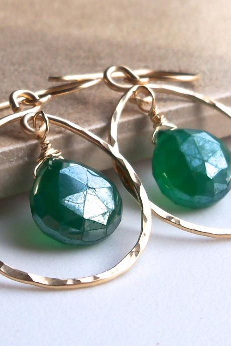 Mystic Green Onyx Gold Filled Hammered Hoop Earrings