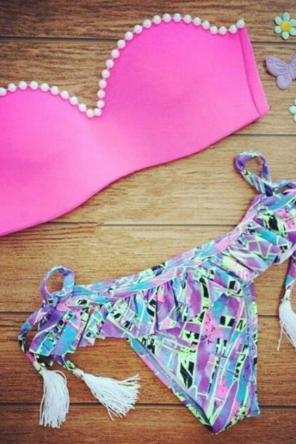 Color Triangle Bikini Beach Swimwear VG52801MN